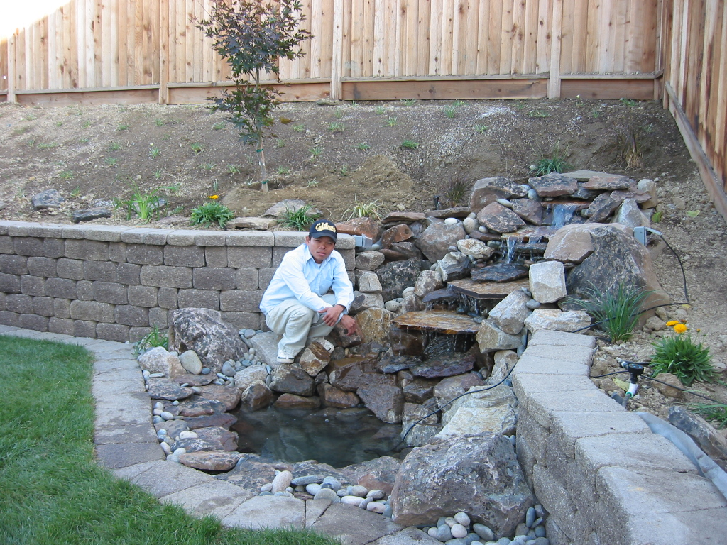 Residential Landscape - Waterfall and Retaining Wall